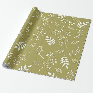Papel De Presente Verde azeitona floral botânica das hortaliças das