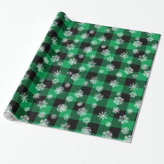 Papel De Presente Verde da xadrez do búfalo do floco de neve