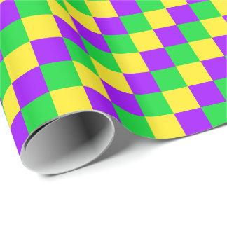 Papel De Presente Verde do carnaval, amarelo, roxo verificado