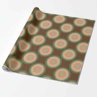 Papel De Presente Verde do design da mandala, indiano alaranjado