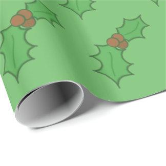 Papel De Presente Verde vermelho das bagas da folha alegre do