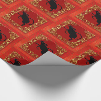 Papel De Presente Vermelho animal e ouro do zodíaco chinês do rato