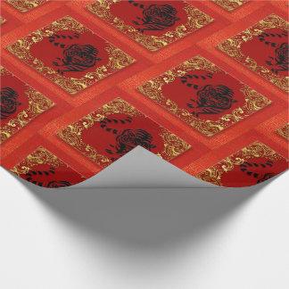 Papel De Presente Vermelho animal e ouro do zodíaco chinês preto do