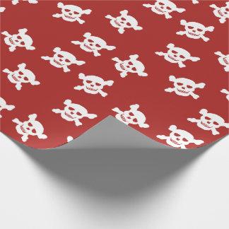 Papel De Presente Vermelho com crânio branco e Crossbones
