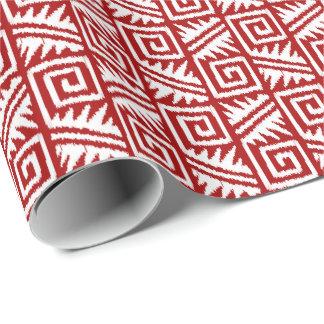 Papel De Presente Vermelho e branco tribais astecas de Ikat -
