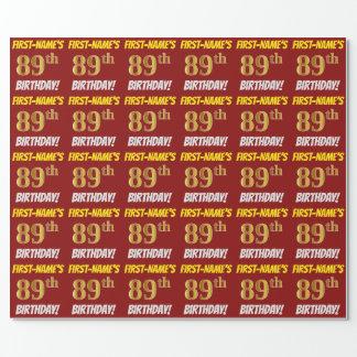 """Papel De Presente Vermelho, falso/ouro de imitação, """"89th"""