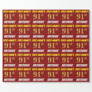 """Papel De Presente Vermelho, falso/ouro de imitação, """"91st"""