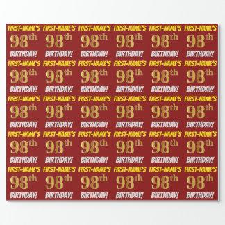 """Papel De Presente Vermelho, falso/ouro de imitação, """"98th"""