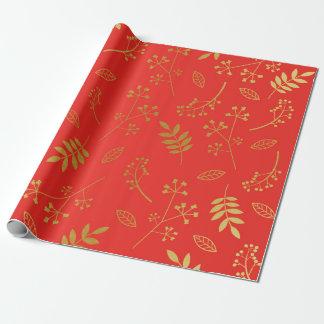 Papel De Presente Vermelho floral botânico do feriado da folha de