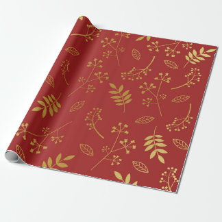 Papel De Presente Vermelho floral botânico do marrom da folha de