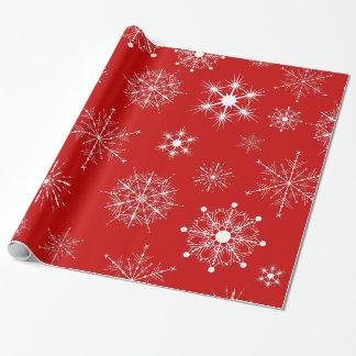 Papel De Presente Vermelho & teste padrão Assorted branco dos flocos