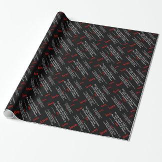 Papel De Presente Verso da bíblia do amor, preto/vermelho