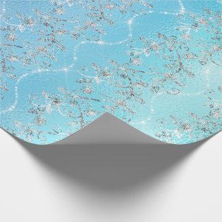 Papel De Presente Vidro azul Sparkly do oceano das cinzas de prata