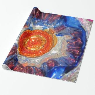 Papel De Presente Vidro de explosão da arte do cosmos - laranja Sun