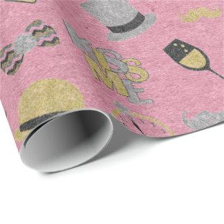 Papel De Presente Vidro perolado metálico cor-de-rosa cinzento do
