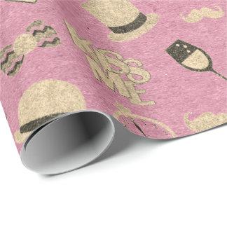 Papel De Presente Vidro perolado metálico cor-de-rosa do beijo de