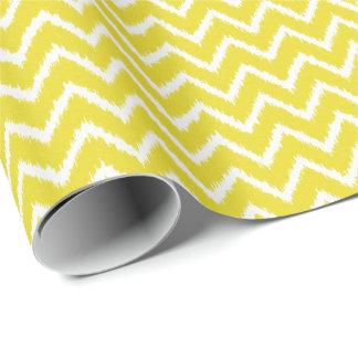 Papel De Presente Vigas de Ikat - amarelo e branco da mostarda