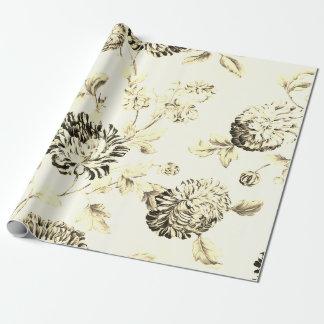 Papel De Presente Vintage antigo Toile floral botânico do ouro
