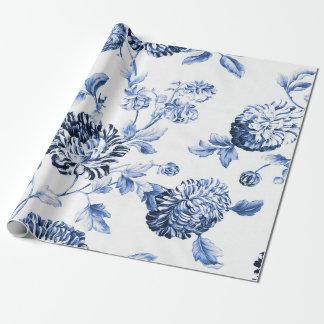 Papel De Presente Vintage azul Toile floral botânico da pervinca