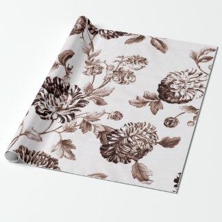 Papel De Presente Vintage branco Toile floral botânico de Brown do