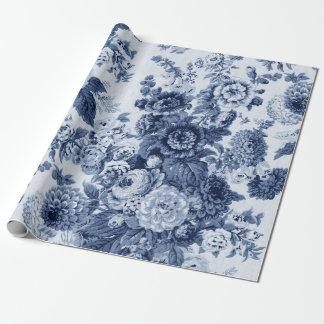 Papel De Presente Vintage branco Toile floral No.3 do preto azul de
