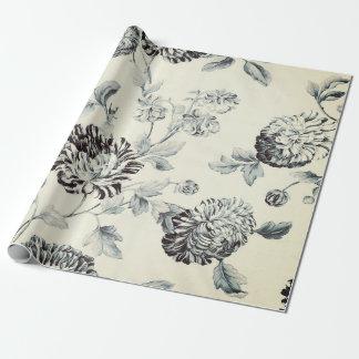 Papel De Presente Vintage cinzento antigo Toile floral botânico