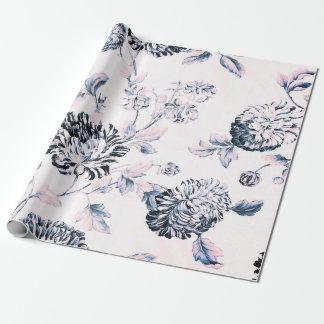 Papel De Presente Vintage cor-de-rosa antigo Toile floral botânico