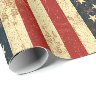 Papel De Presente Vintage da bandeira americana afligido