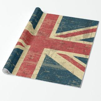 Papel De Presente Vintage de Union Jack afligido