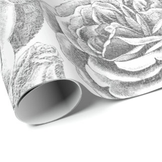 Papel De Presente Vintage delicado branco floral das cinzas de prata