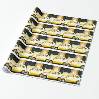 Papel De Presente Vintage Fiat amarelo 500 em Italia