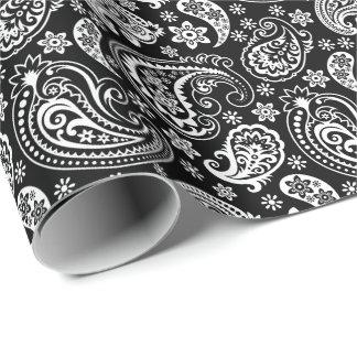 Papel De Presente Vintage preto & branco Paisley