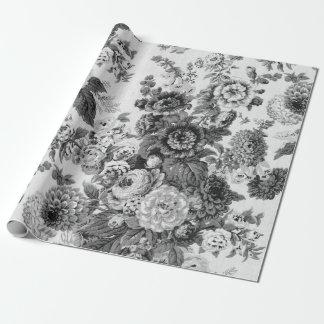 Papel De Presente Vintage preto & branco Toile floral botânico