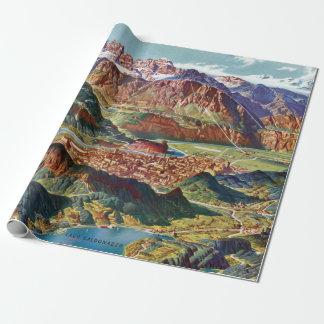 Papel De Presente Vintage Trient e o mapa de Italia das dolomites de
