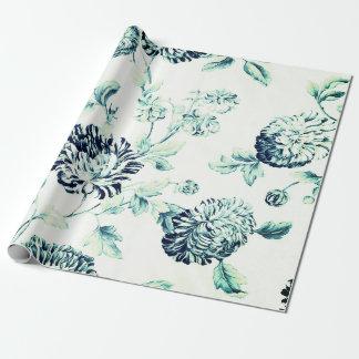 Papel De Presente Vintage verde antigo Toile floral botânico