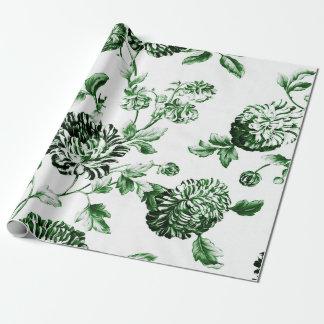 Papel De Presente Vintage verde e branco Toile floral botânico