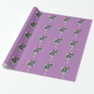 Papel De Presente Violeta o asno no chapéu de palha com flores