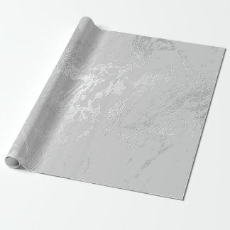 Papel De Presente VIP monocromático Carrara de prata de mármore