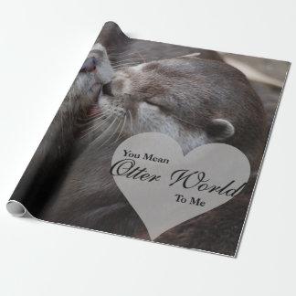 Papel De Presente Você significa-me o mundo da lontra beijo do amor