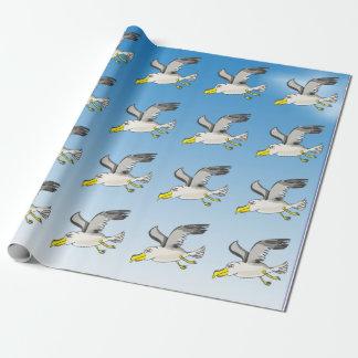 Papel De Presente Vôo da gaivota dos desenhos animados aéreo com um
