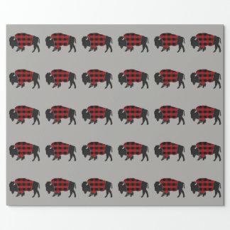 Papel De Presente Xadrez do búfalo do bisonte