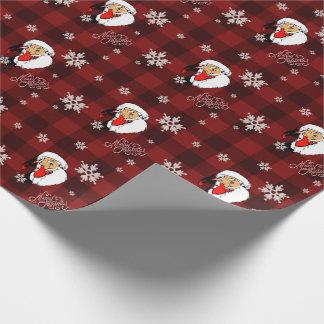 Papel De Presente Xadrez vermelha do búfalo de Papai Noel do natal