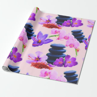 Papel De Presente Zen das flores do açafrão e da orquídea da