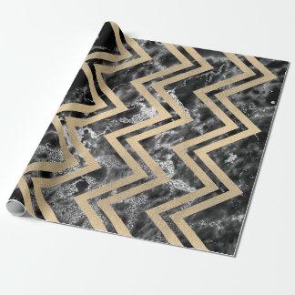 Papel De Presente Ziguezague Chevron Silve preto do mármore do ouro