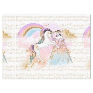 Papel De Seda A música da princesa Arco-íris do unicórnio stars