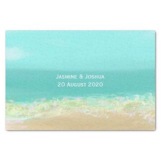 Papel De Seda Água azul do Aqua/litoral pintado da praia