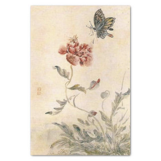 Papel De Seda Aguarela da abelha, da borboleta e da papoila do