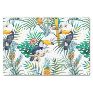 Papel De Seda Aguarela tropical do pássaro do papagaio do