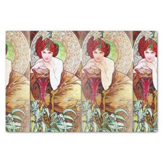 Papel De Seda Alfons Mucha 1900 as pedras preciosas esmeraldas