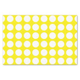 Papel De Seda Amarelo branco das bolinhas